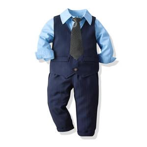 2021 Baby Suit Childrens Suits 4Pcs Set Kids Baby Boys Business Suit Solid Shirt+ Pants + Vast + Tie Set For Boys 2-8 Age