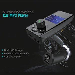MP4 Players T30 Kit de automóvil Bluetooth Conjunto de manos libres Transmisor FM Reproductor de música MP3 2 Cargador USB con interruptor, Soporte U DISK Micro SD