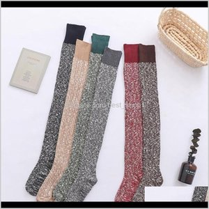 Other Home Garden Women Topper Skinny Knee Sock Winter Warm Sexy Knitted Thick Long Boot Stocking Sport Designer Cotton Stockings Dbjp P2Bec