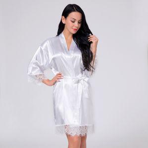 Sleepwear Pajamas Women's 2021 spring lace Nightgown ice silk satin bathrobe night wear