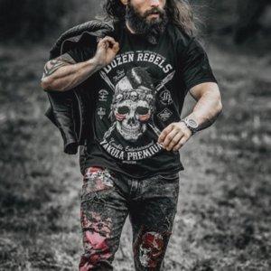 Bones T-shirt stampate originali 3D sono uniche, eleganti, bellissime, traspiranti e confortevoli, da viaggio quotidiano, impatto visivo, maniche corte per uomo in stile gotico