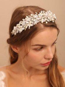 Headpieces Silver Women Crystal Headbands Beads Head Accessories Hairbands And Earrings Set Leaves Beauty Wedding Ornaments Bridal Headwear