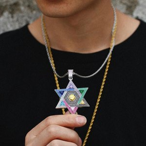 Rainbow Colors Cubic Zircon Magen Star Of David Pendant Israel Jewish Necklace Iced Out CZ Stone Men Hip Hop Jewelry Gift Necklaces