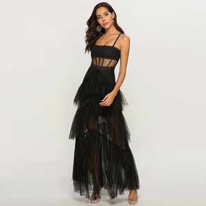 Casual Summer Women Dress Mesh Cascading Ruffles Maxi Long Ladies Strap Sexy Perspective Dresses High Quality