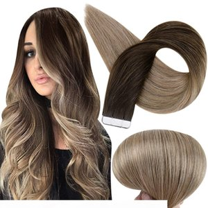 Remy Tape In Hair Extensions Ombre Balayage 2 6 18 Ash Blonde Tape Hair Extensions Good Quality Skin Weft Hair 100g 40pcs