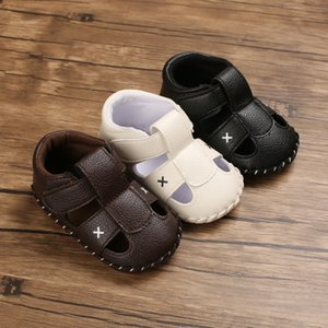 Baby Crib Shoes Boys Solid Color Sandals Shoes Cross-tied Casual Sneaker Anti-slip Soft Leather for Boys Toddler