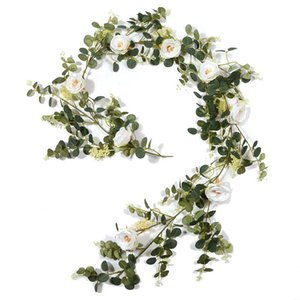 Artificial Flower Eucalyptus Garland With Camellias, 6Ft Fake Hanging Vine For Wedding,Garden Party,Table Decor Decorative Flowers & Wreaths