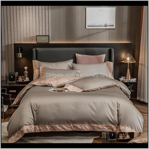 Europe Solid Color Chic Embroidery 100 Cotton Homeel Bedding Sets Duvet Cover Bed Sheet Bedspread Pillowcases Queen King Iyebh D60G1