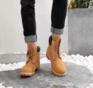 Women Men Leather Sneakers Yellow Vintage Working For Men Brand Fashion Mens Motorcycle Boot Designer BootsBPG6