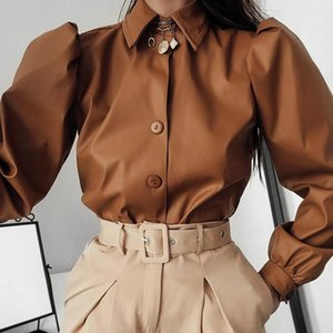 Autumn Leather Blouse Women Vintage Lapel Long Puff Sleeve Shirt High Street Ladies Winter Office Lady Clothing Women's Blouses & Shirts