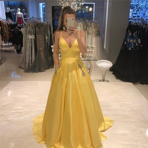 Simple V-neck Long Prom Dress With Pockets A-line Yellow Satin Formal Party Dresses For Sweet 16 Girls Vestidos De Evening Gowns