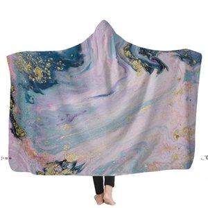 Psychedelic Art Marble Swirl blanket Gouache flowing gold Children Hooded Blanket Soft Warm Sherpa Fleece wearable Blankets for BWD11124