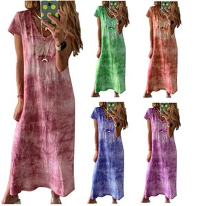 Women Extra Long T Shirt Tie Dye Short Sleeve Dress Summer Fall Loose Gradient V-Neck Cotton and Linen Comfortable Female Longline T-shirts Tie-Dye Dresses