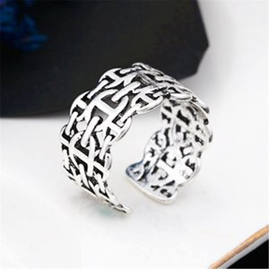 Cluster Rings Silver Ring Temperament Female Models Exquisite Old Japanese Word Opening Hand Jewelry