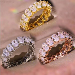 Factory40R7Vintage Fashion Jewelry Real 925 Sterling Silver Choucong Princess White Topaz CZ Diamond Eternity Women Wedd