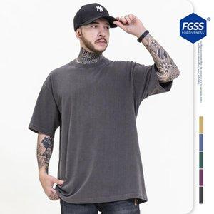 Camisetas para hombres Hombres de High Street Mujeres Hiphop Camiseta de gran tamaño Tela Tela Lavado Ropa de Algodón Color Sólido 230G Calidad de Textura