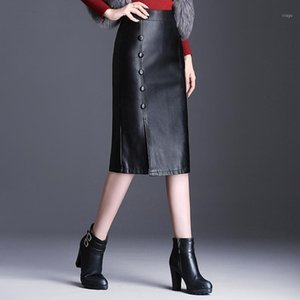 Women Autumn Winter Slim Fit Slit Plus Size Black PU Leather Skirt Office Lady Elegant Chic High Waist Long Bodycon Skirts M-4XL1