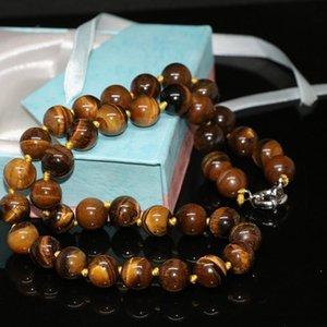 Chains Women Neckalce Natural Stone Yellow Tiger Eye 8mm 10mm 12mm Round Beads Chain Choker Jewelry Making 18inch GE416