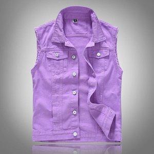 Purple Denim Vest Casual Waistcoat Sleeveless Jacket Hip Hop Jean Coats Male Tank Plus Size 5XL Men's Vests