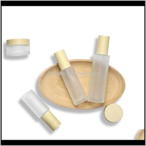 Storage Bottles Jars 20Ml 30Ml 40Ml 50Ml 60Ml 80Ml 100Ml Frost Jar With Wooden Lids Cap Frosted Glass Lotion Spray Bottle Cosmetic Con Nl2Mg