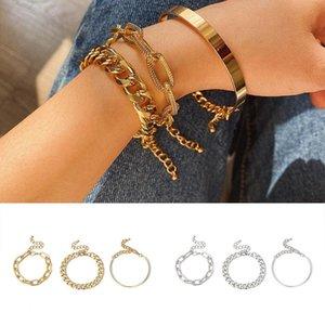 3Pcs Set Women Bracelets Chains Rings Link Wristband Party Jewelry Bracelet Punk Cool Hand Chain Bangle Silver Gold