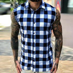 Men's Fashion Summer Plaid Casual Flannel Shirts Man Tank Top Soft Comfort Slim Fit Styles Men Jacket Shirt
