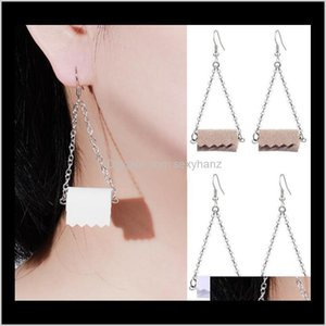 Creative Pu Leather Toilet Earrings Necklace Set Dangle Geometric Tissue Roll Paper Cute Earring For Women Designer Jewelry Gifts Vfu7 Kjr1H