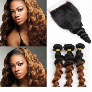 Ombre color 1b 30 loose wave unprocessed raw virgin brazilian hair bundles with 4*4 closure for woman