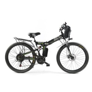 Electric Bicycle Powerful Mountain Bike Single Motor 500W 48V 12AH Folding Adult With Front Bag