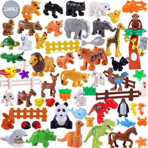 Diy Building Blocks Animals Models Dinosaur Deer Panda Elephant Tiger Figures Toys For Children