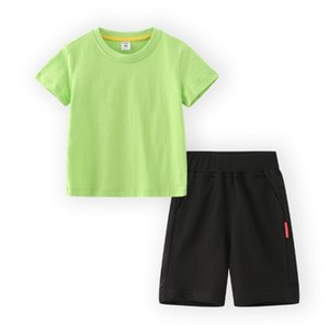 Children's Soccer jersey short-sleeved shorts set new solid color blank sports t-shirt two-piece pants