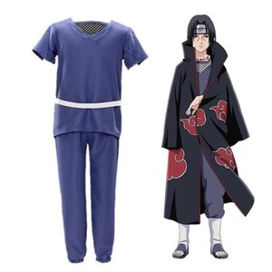 Anime Cosplay Akatsuki Cloak Headband Necklace Ring Kunai Shuriken Shoes Wig Halloween Men Kids Costume Props Toy Hokage Itachi Y0913