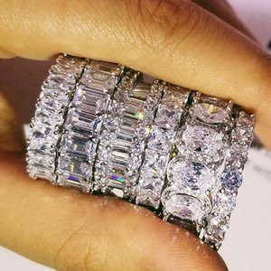 Choucong design 925 sterling silver CZ Diamond Gemstones wedding band eternity Ring for Women solid engagement anniversary fashion jewelry