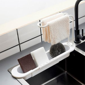 Towel Racks Sponge Storage Holder Plastic Brush Drain Organizer Adjustable Kitchen Sink Shelf