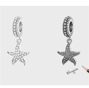 Blue CZ Pull Pave Setting Cute Starfish Boundly Charm Beast Fit Pandora Bracete 100% подлинной 925 стерлингового серебра 65 W2