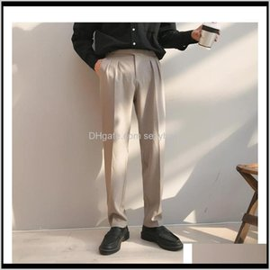 Suits & Blazers Clothing Apparel Drop Delivery 2021 Mens Silk Formal Business Casual Western-Style Trousers Vertical Slim Suit Pants Black Gr