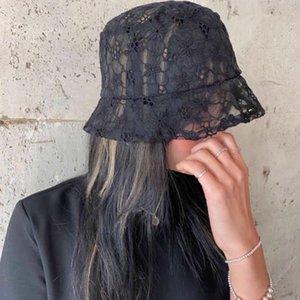 New Fashion Lace Black Bucket Summer Sun Hats For Women Hollow out Flower gorro Cap Fishermen Hat W43E
