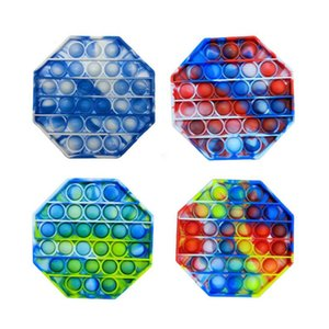 Glowing Push Bubble Fidget camouflage Toys pop it Autism Special Needs Reliever Helps Relieve Stress Increase Focus Soft Squeeze Party Favors