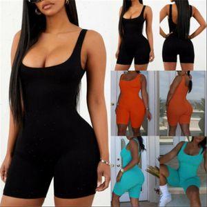 Womens Romper Women Rompers Sleeveless Solid Halter Jumpsuit Bodycon Short Playsuit For Slim Pants Female Pajamas Bodysuit Overall