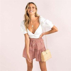 Skirts 2021 Mini Skirt Mujer Faldas Woman Womens Saias Mulher Femme Jupes Chiffon Printing Dots Folds High Waist Sexy Swing