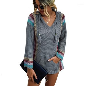 New Women Color Block Hoodie Sweater 2020 Autumn V Neck Mexican Baja Stripe Casual Pullover Patchwork Loose Knit Poncho Sweaters1
