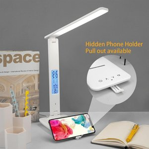 Table Lamps 10W LED Desk Lamp With Phone Wireless Charger USB Charging Port Dimmable Eye-Caring Office For Work Folding Design