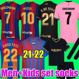 Camisetas de Football Messi Barcelona Soccer Jerseys Barca FC 20 21 22 Ansu Fati 2021 2022 Grizmann F.de Jong Countinho Dest الفانيلة كيت قميص الرجال الاطفال مجموعات الجوارب