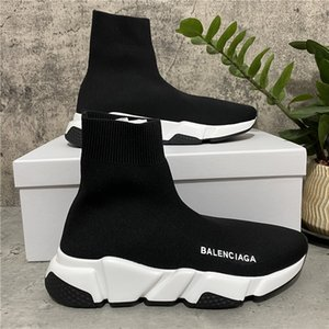 [With Box] Top Quality Mens Womens Casual Shoes Speed Trainers Air Cushion Knit Sock White Black Khaki Watermark Size 36-45