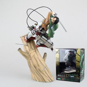 Attacco su Titan Anime Figure Levi Ackerman Eren Jaeger Figurine Action Figure PVC Prodotto finito Modello Giocattoli Giocattoli Doll Regali per bambini X0503