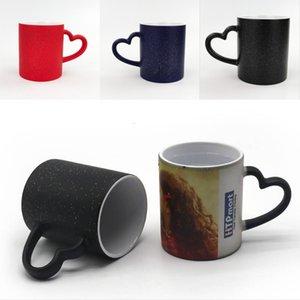 Temperature Discoloration Cups No Lid Sublimation Blank DIY Mug Love Heart Handle Ceramic Tumblers Shiny Star 3 Color 6ex G2