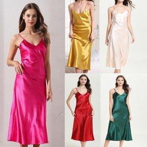 Lingerie Large Size#p31 V Neck Spaghetti Straps Imitated Silk Satin Sleepwear Nightdress Nightgowns Fashion Women's Sexy