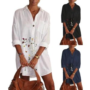 Women Retro Floral Print Shirt Dress Autumn Turn-down Collar Button Elegant Office Dress Female Long Sleeve Mini Party
