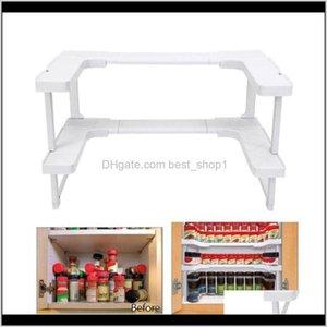 Holders Racks 2 Layers Cupboard Adjustable Kitchen Shelf Spice Rack Countertop Organizer Cabinet Storage T200413 Jtzfz Cwqr7