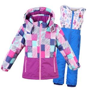 2021 22 Новая одежда для девочек Цветы пальто на пальто + комбинезонные костюмы теплые ветрозащитные Snowsuit Modeler лыжный костюм